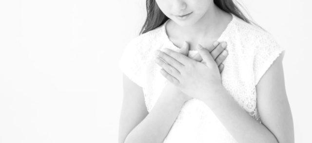 女性 喘息 呼吸 感謝 胸