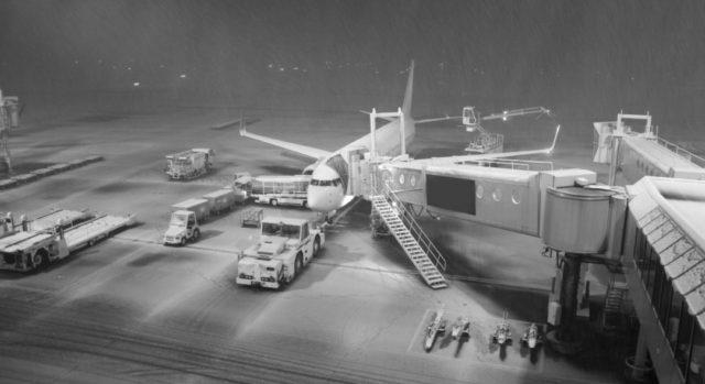 大雪 飛行機 空港