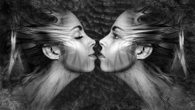 双子の女性 キス 対照
