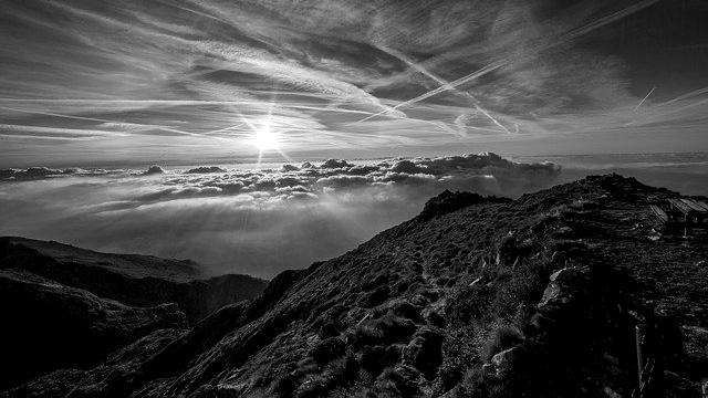 風景 山 夕日 太陽 自然 神秘